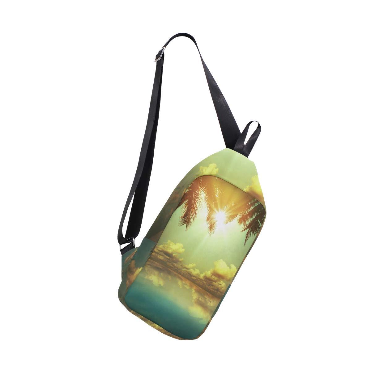TFONE Hawaii Ocean Sea Beach Theme Crossbody Bag Lightweight Chest Shoulder Messenger Pack Backpack Sling Bag