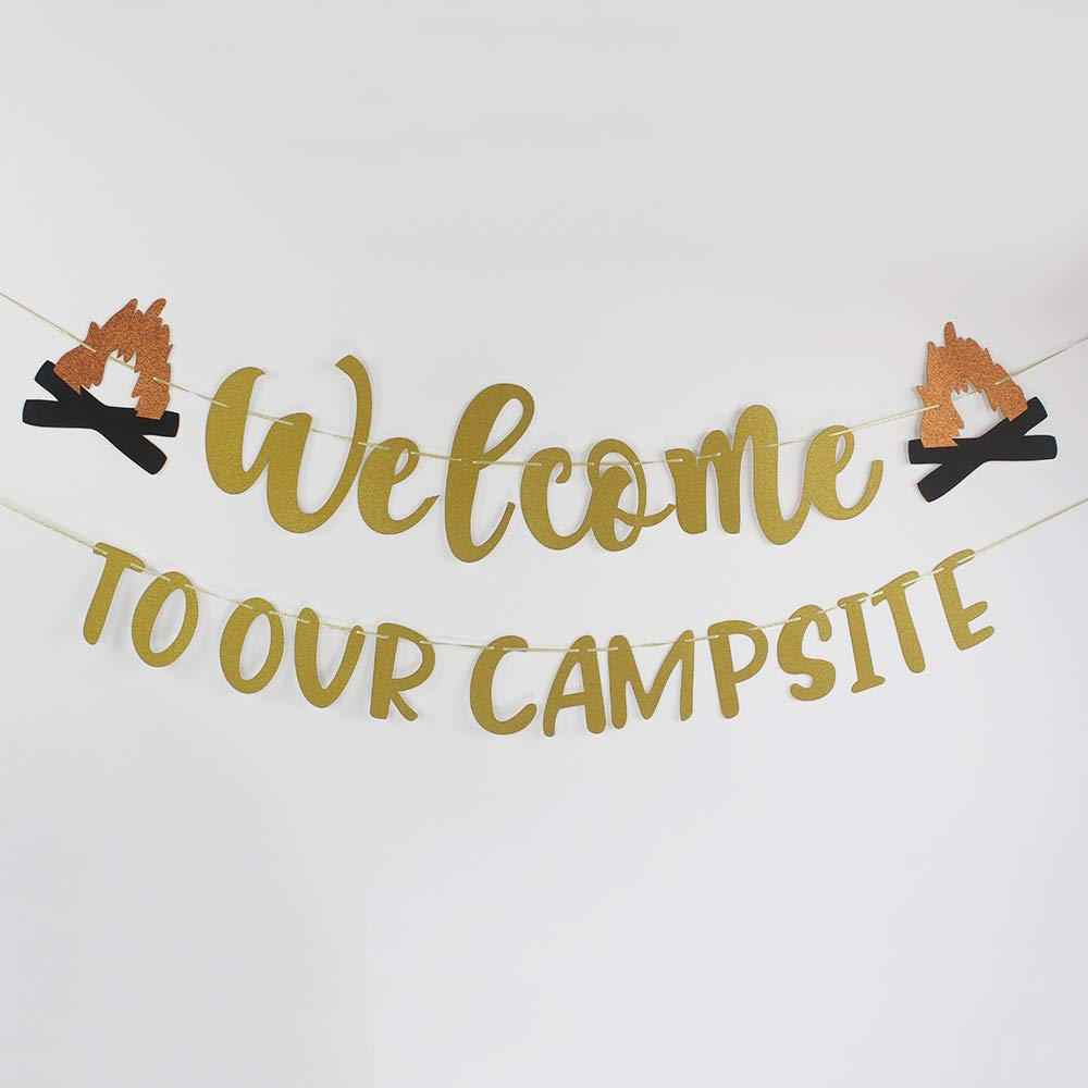 Welcome to Our Campsite Banner Sign Home Garden House Flag Happy Retirement Decor Camper Yard Flags for Outdoor Camping Party Decorations