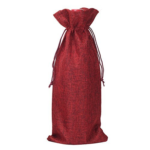 HRX Package Pack of 10 Burlap Wine Bags with Drawstring for Christmas, 13.4