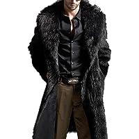 fedi Prendas de vestir de los hombres invierno Piel sintética chamarra largo Turn Down Collar chamarra Plus Tamaño