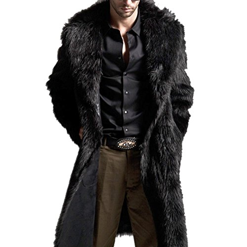 Sungpunet Mens Faux Fur Coat Long Black Jacket Warm Overcoat Outwear,BlackUS X-Large=(bust 49.2inches)