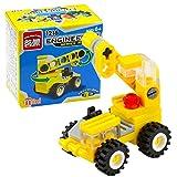 Qenci Toddler Mini Crane Forklift Bulldozer Excavator Dumper Building Block Toys