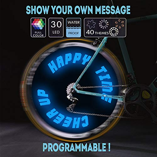 Words and Graph Programmable Bike Wheel Lights -Wireless Custom Message,Ultra Bright LED - Bicycle Wheel Spoke/Colorful Bicycle Tire Accessories- Waterproof