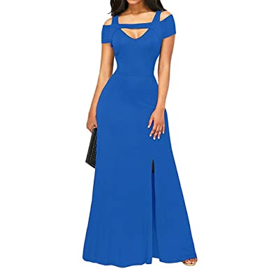 Mercantil Express Women New Cold Shoulder Front Slit Flare Maxi Dress Floor Length Sexy V Neck