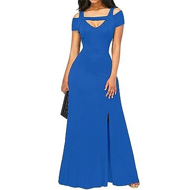 Mercantil Express Women New Cold Shoulder Front Slit Flare Maxi Dress Floor Length Sexy V Neck
