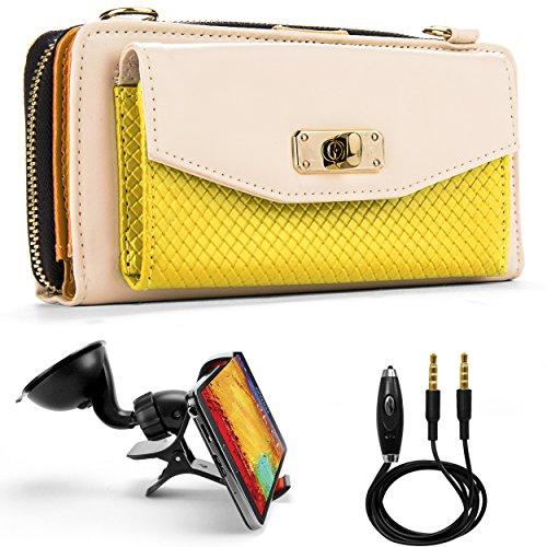 Venice Wallet Clutch Bag Carrying Case For Archos 40b Titanium/Archos 50c Oxygen Smartphones + Auxiliary Cable + Windshield Car Mount