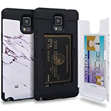 Galaxy Note 4 Case, TORU [Note 4 Wallet Case Pattern Marble] Protective Slim Fit Dual Layer Hidden Credit Card Holder ID Slot Card Case with Mirror for Samsung Galaxy Note 4 - Marble Stone