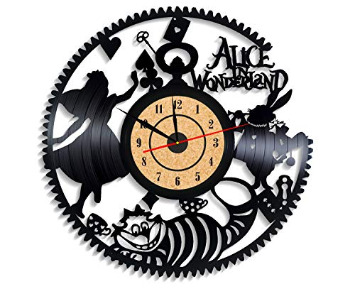 Levescale TM Alice in Wonderland Vinyl Wall Clock Adventure Film for Women and Tim Burton Fans - Decoration for Kids Room White Rabbit, Walt Disney Pictures]()
