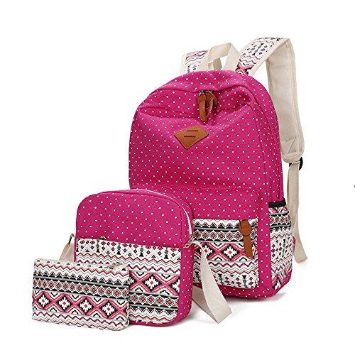 Ethnique Trois épaississement Cartable Toile Pièces Sac QXMEI Bandoulière Sac Dos à Nouveau Pink Style à 1PTx1I0