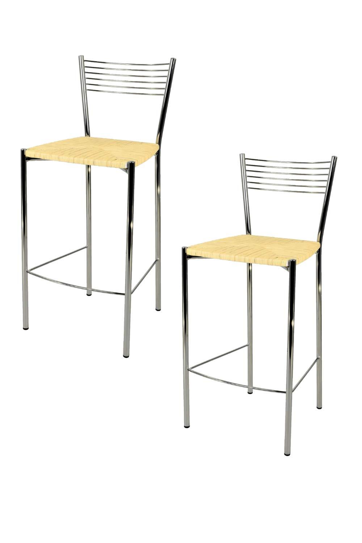 Tommychairs Set 2 sgabelli Design Elegance Alti e Moderni per Cucina e Bar e ristoranti con Robusta Struttura in Acciaio Cromato e Seduta in Paglia Color Avorio