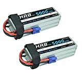 quad helicopter large - HRB 2Packs 6S 22.2V 5000mah 50C RC Lipo Battery EC5 Plug For Helicopter Airplane Quadcopter DJI Drone (6.06 x 1.91 x 1.89 Inch)
