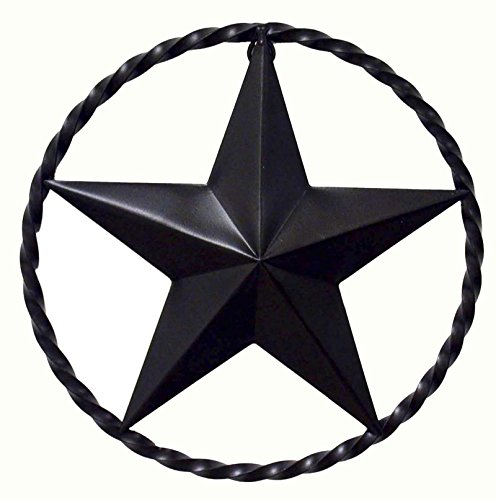 WROUGHT IRON STAR WITH RING, 12 INCHES IN DIAMETER.