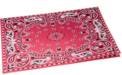 Red Bandana Placemats - Paper Place Mats in Rustic Red Bandana Print, 24 SHEETS | Western Party Decor ()