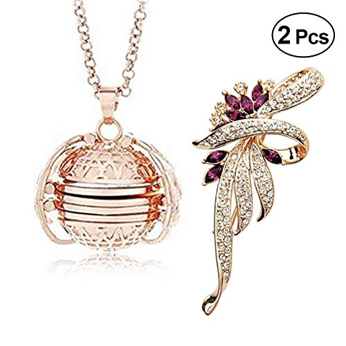 W-ShiG 2 Pcs Expanding Photo Locket Necklace Pendant with Brooch Photo Lockets Jewelry Clothing Decoration Accessory Great Gift for Mother's Day Valentine Birthday
