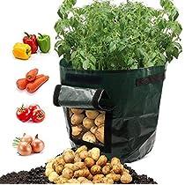 Potato Grow Bags, Frideko 4Pack 7 Gallon Garden Grow Bags with Flap and Handles Aeration Fabric Pots Heavy Duty for Potato, Carrot, Tomato, Onion