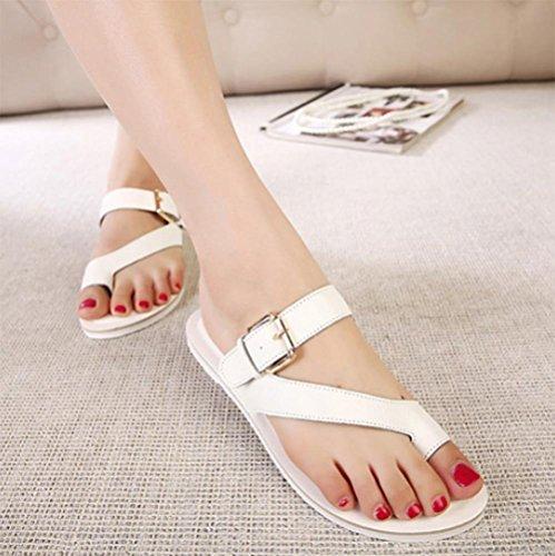 Xia Jiping Unterseite Schuhe bequem Klippzehe flache Römersandalen mit dünnen Beinen Pantoffeln Schuhe Damen-Einzel white