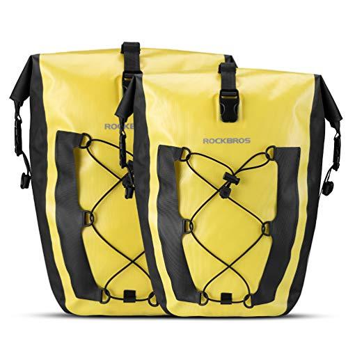ROCK BROS Bike Pannier Waterproof 27L Large Capacity Bike Bag Rear Rack Bicycle Pannier Bag Waterproof for Grocery Touring Cycling (Yellow2)
