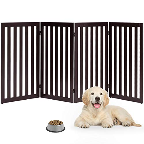 Giantex 36 Wooden Dog Gate, Configurable Freestanding Pet Gate for Small and Large Pets, Foldable Tall Panels for House Doorway Stairs Extra Wide Pet Safety Fence Brown, 80 W