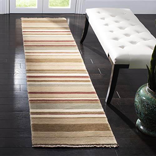 Tibetan Stripe Rug - Safavieh Tibetan Collection TIB316A Hand-Knotted Camel and Multi Wool Runner (2' x 8')