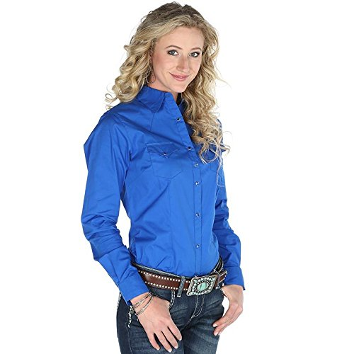 Wrangler Women's Solid Blue Snap Pocket Western Shirt Blue Medium