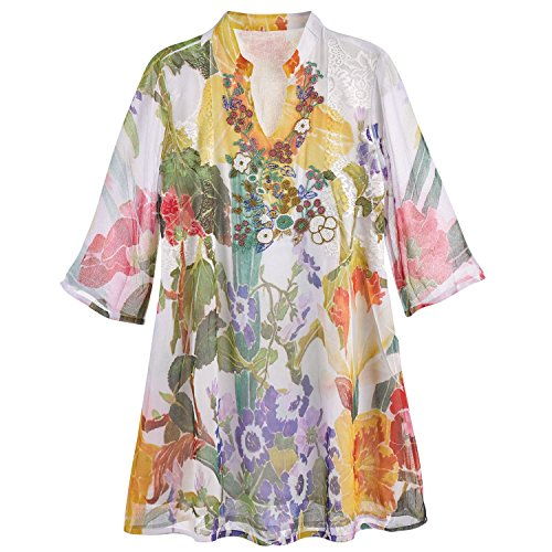 CATALOG CLASSICS Women's Beaded Floral Tunic Top - 3/4 Sleeve Sublimated Print Y-Neckline Blouse - Medium Beaded Print Tunic
