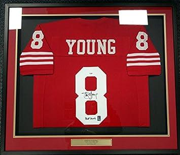 355db7d68 SAN FRANCISCO 49ERS STEVE YOUNG AUTOGRAPHED FRAMED RED JERSEY quot HOF  2005 quot  PSA DNA