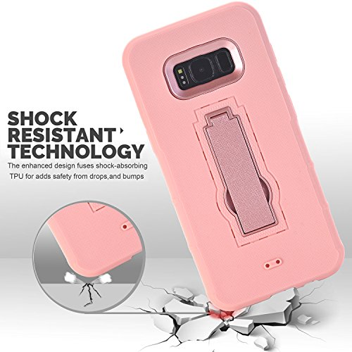 Samsung Galaxy S8 Plus Case,Dual Layer Rugged Full-Body Anti-Slip Hybrid High Shockproof Armor Defender Combo Cover, Hard PC+Soft Silicon Kickstand Pink Case 6.2 inch 2017 for Women Men Girls Kids