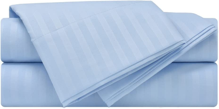 Mezzati Luxury Striped Bed Sheet Set - Soft and Comfortable 1800 Prestige Collection - Brushed Microfiber Bedding (Light Blue, Twin Size)