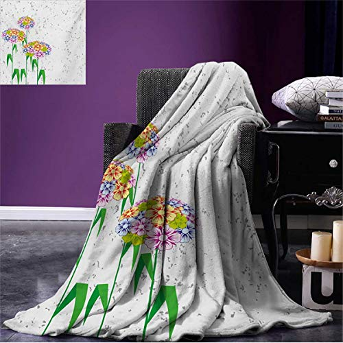 er Blanket Colorful Flowers Daisies with Green Leaves Nature Garden Botanical Artwork Image Beach Multicolor W60 x L36 inch ()