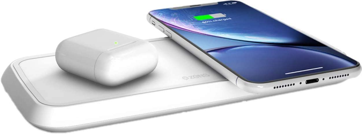 ZENS Qi certified Dual Fast Wireless Charging Pad 2x10W White, Supports Fast Wireless Charging with up to 10 Watts Works with all Phones with