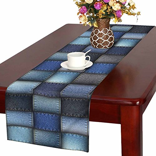 InterestPrint Modern Blue Jeans Patchwork Background Table Runner Cotton Linen Home Decor for Wedding Party Banquet Decoration 16 x 72 Inches ()