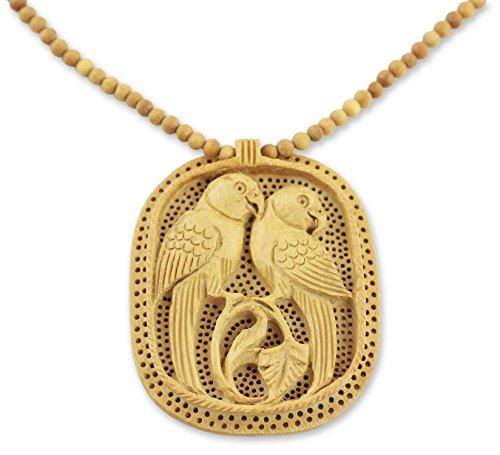 NOVICA Kadam Wood Bird Motif Beaded Pendant Necklace 'Parrot Romance', (Parrot Pendant Jewelry)