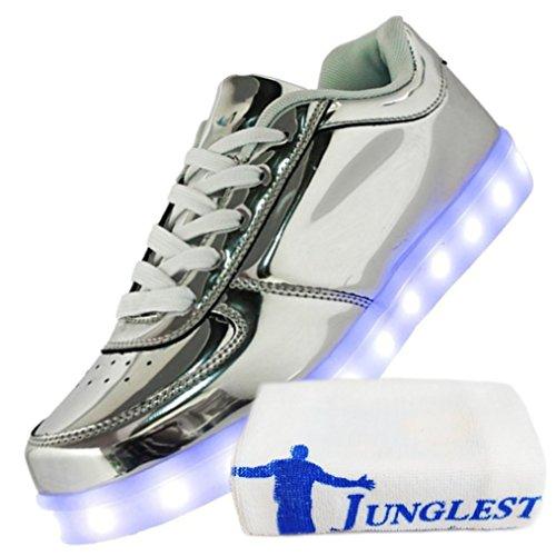 (Present:kleines Handtuch)JUNGLEST 7 Farbe LED Leuchtend Aufladen USB Erwachsene Paare Schuhe Herbst und Winter Sport schuhe Freizeitschuhe Leucht la Silber