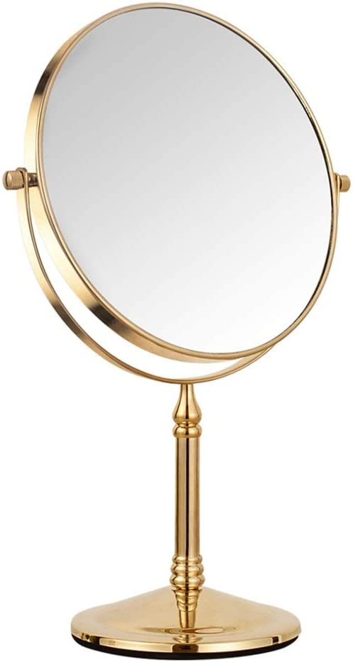 B07RRT33MH Double Sided Magnifying Makeup Mirror, HD Portable Removable 360 Degree Free Rotation Desk Mirror Gold for Bedroom Office Makeup Mirror 51YhLJ1DNRL