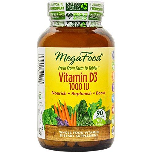 MegaFood - 1000 UI de vitamine D3, favorise la fonction immunitaire saine & bien-être global, 90 comprimés
