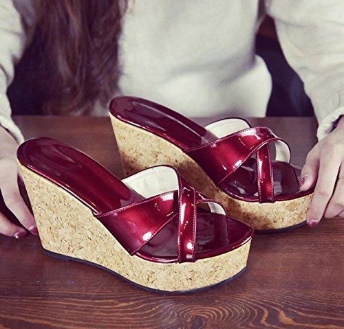 Correas de Libre Zapatos Plataforma Alto de Cruzadas Mujer con Zapatillas Verano Rojo Chanclas de tacón para Aire caseros tacón con al cuña DANDANJIE de Sandalias BqI16wp1W