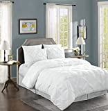 Chezmoi Collection Berlin 4-piece Pintuck Bedding Comforter Set (King, White)