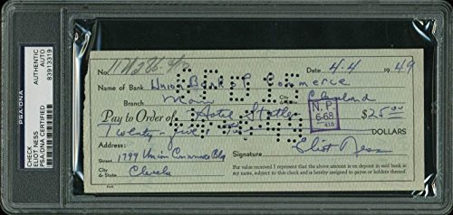 Eliot Ness Signed 3x7 April 4, 1949 Union Bank Check Slabbed - PSA/DNA Certified