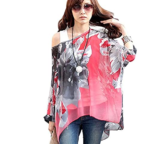 Lowpricenice Womens Batwing Dolman Sleeve Shirt Chiffon Flowers Tops Blouse (XL, Hot pink) - Flower Sleeveless Blouse