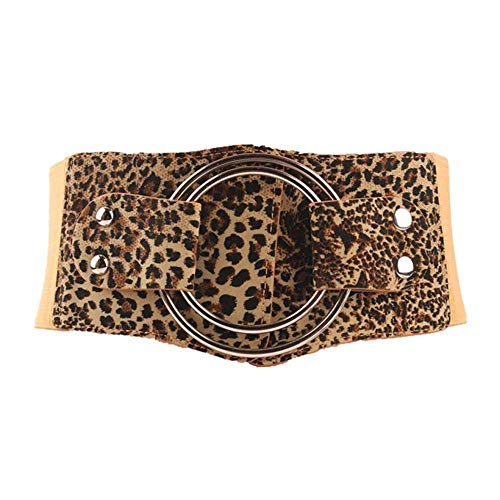 Ybriefbag Women Classic Belt for Jeans Pants Black Womens Wide Elastic Stretch Waist Belts Cinch Waistband for Dress Coat Shirt Ladies Girls Western Design Belt (Color : Leopard Print)