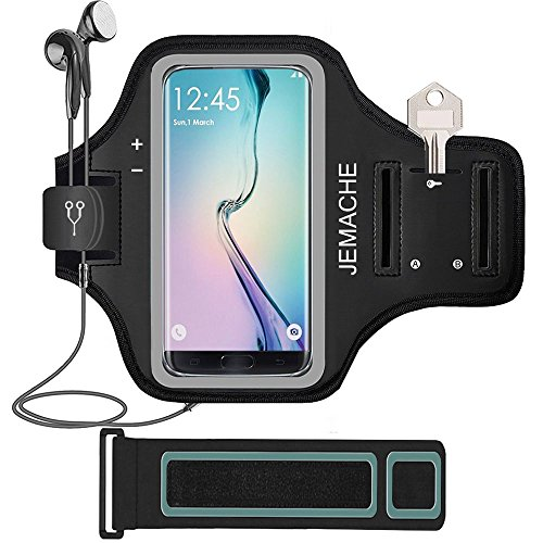 Galaxy S7 Edge/S8/S9 Armband, JEMACHE Gym Run/Jog/Exercise Workout Arm Band for Samsung Galaxy S6/S7/S7 Edge/S8 with Key/Card Holder (Fit OtterBox Case)