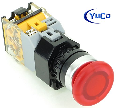 (Yuco YC-P22PMMO-MIR-6 Red Illuminated 22mm Push Button with 35mm Mushroom Cap Momentary Switch Action 1 N.O. 1 N.C. Contact Blocks Included, 12V AC/DC)