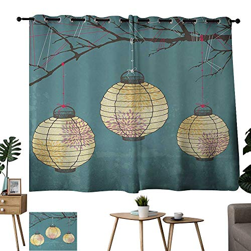 Warm Family Burgundy Curtains Lantern,Three Paper Lanterns Hanging on Branches Lighting Fixture Source Lamp Boho,Teal Light Yellow 84