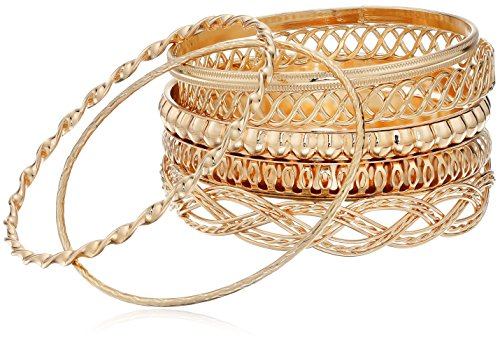 "GUESS ""Basic"" Gold 7 Piece Mixed Bangle Bracelet"