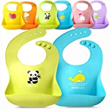 Single Set of 2 Waterproof Silicone Baby Bib Light Weight Comfortable Easy Wipe Clean(Blue/Green)