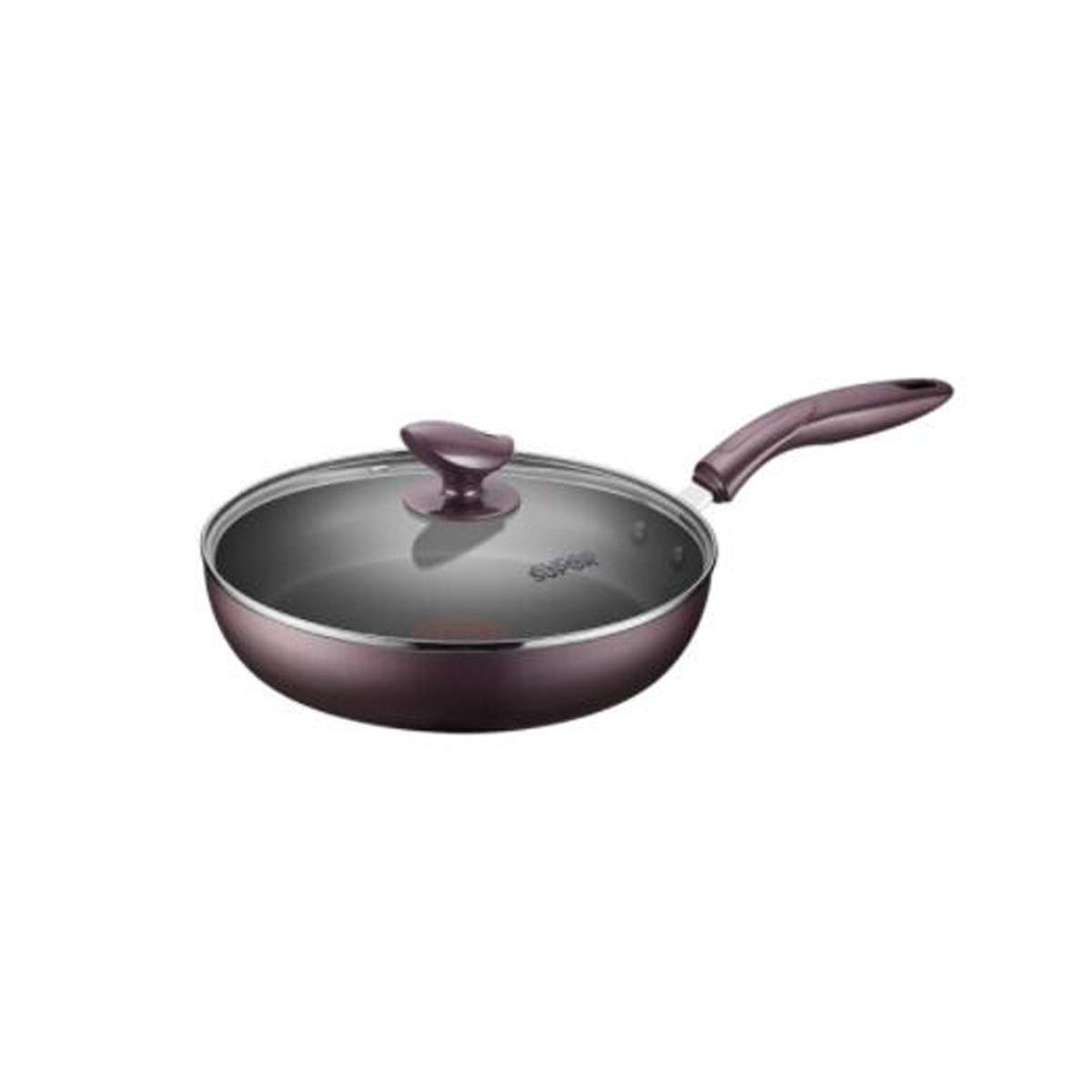 HXSD Frying Pan, Glass Cover Red Point Frying Pan, Non-Stick Cooker Induction Cooker Universal High Material (Color : Purple, Size : 28cm)