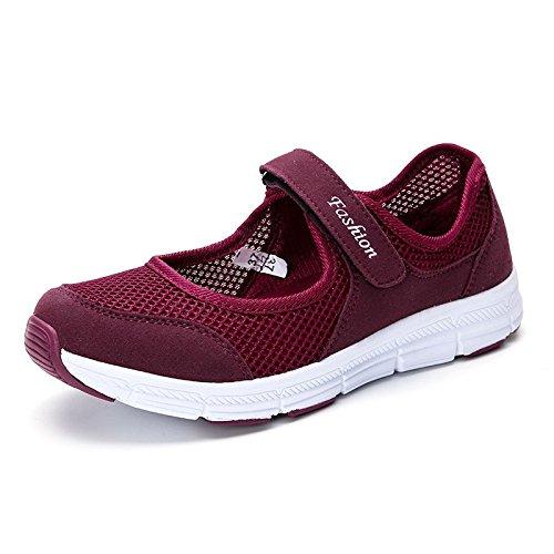 Zapatos Respirables Grey amp;G Las De Aire Las Planos Planos De Zapatos Los Los Zapatos Zapatos Mujeres De Las La Mujeres NGRDX Mujeres Deportivos Del De De Ocasionales Verano Dark Red Calzan dZqXwwx