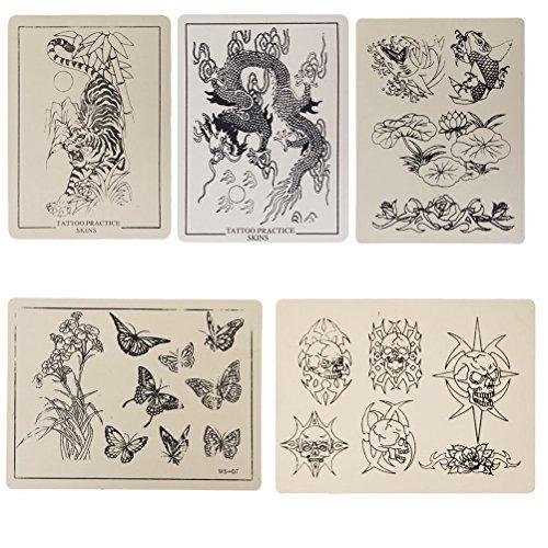ROSENICE Patterned Tattoo Temporary Tattoos Stickers Practice Skin for Beginner 20x15CM - 5 Sheet