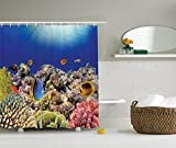 Ambesonne Ocean Decor Collection, Wild Sea Life Colorful Ancient Coral Reefs and Exotic Fishes Bali Indonesia Picture, Polyester Fabric Bathroom Shower Curtain, Navy Blue Orange Olive Ivory