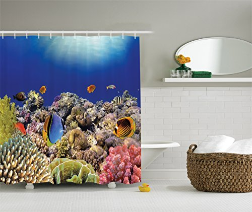 Ambesonne Ocean Decor Collection, Wild Sea Life Colorful Ancient Coral Reefs and Exotic Fishes Bali Indonesia Picture, Polyester Fabric Shower Curtain, 75 Inches Long, Navy Blue Orange Olive Ivory (Navy Coral Picture)
